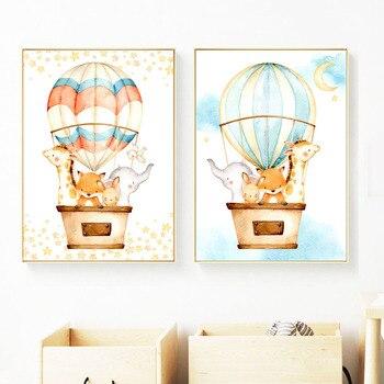 Dibujos Animados zorro conejo jirafa globo de elefante carteles nórdicos e impresiones cuadro sobre lienzo para pared fotos de pared decoración de la habitación de los niños