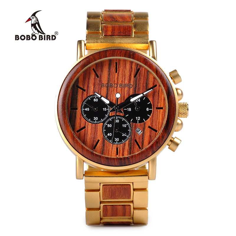 BOBO BIRD Luxury Brand Men Watch Relogio Masculino Wood Stainless Steel Combined Chronograph Military Quartz Watches