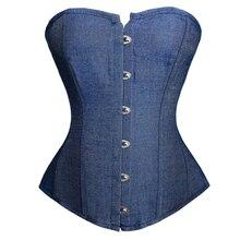 Caudatus nieuwe mode sexy denim corset vintage stijl victoriaanse strapless bustier corset bovenborst lingerie top kleding korsett