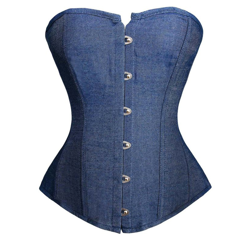 caudatus new fashion sexy denim   corset   vintage style victorian strapless   bustier     corset   overbust lingerie top clothing korsett