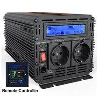 EDECOA UPS инвертор чистой синусоиды 2500 Вт DC 12 В к AC 220 В ЖК дисплей дисплей + Зарядное устройство дистанционного управления Бесплатная доставка