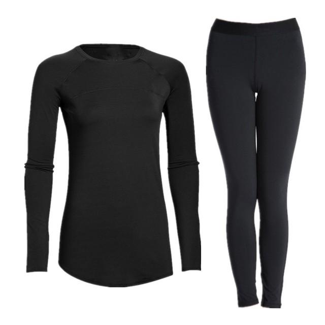 Camadas de Base de Compressão Roupa das Mulheres de boa Qualidade Manga Comprida Estiramento Collants Quick Dry Tops & Calças Conjuntos