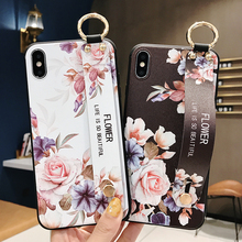 3D Relief Wrist Strap Kickstand Funda Fashion Flower Rose Phone Case f