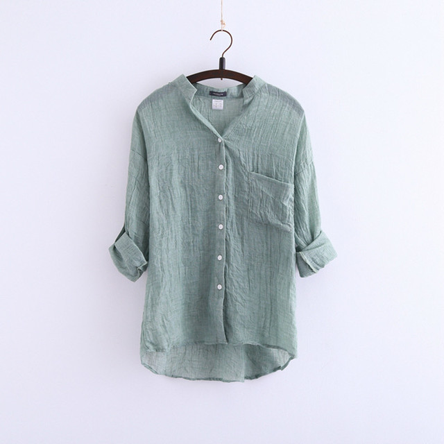 98d65ebe24 Japanese small fresh new summer sun protection clothing loose cotton collar  shirt sleeve linen shirt female shirt