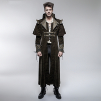 Punk Cool Killer Men Long Coat with Cape Steampunk Cosplay Long Jacket Casual Overcoats