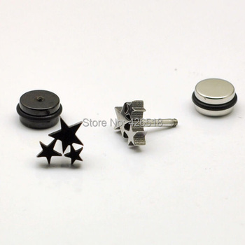Three Stars White Black Stainless steel Punk Men Screw earrings 2 colors No fade.jpg 350x350 - Three Stars White Black Stainless steel Punk Men Screw earrings 2 colors No fade
