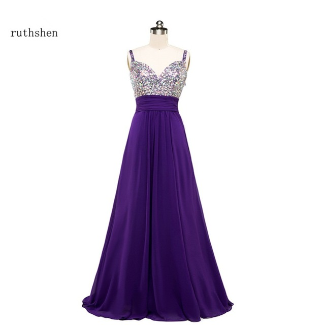 Marvelous Ruthshen Charming Long Bridesmaid Dresses Cheap 2018 Spaghetti Rhinestones  Beaded Bling Bling Purple Chiffon Wedding Guest