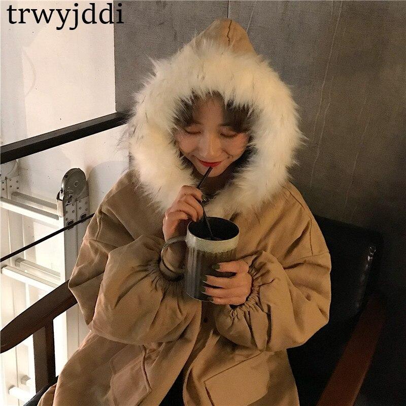 Long Épaissie Capuche N150 Nouveau Fourrure D'hiver Se Col Grande Chaud Xing De Mode 2018 Outillage Taille Lâche À Veste Femmes Survêtement pink Coton 4Xxd68nwH