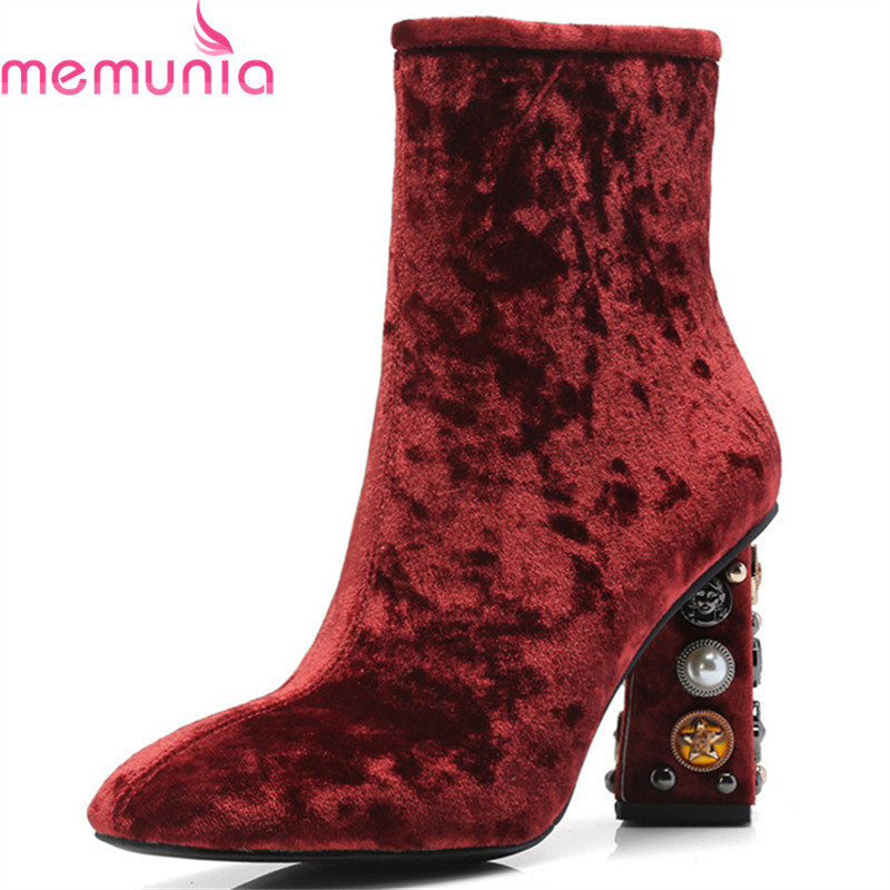 MEMUNIA 2018 hot sale ankle boots for women autumn winter top quality boots zipper simple high heels boots dress shoes woman MEMUNIA 2018 hot sale ankle boots for women autumn winter top quality boots zipper simple high heels boots dress shoes woman