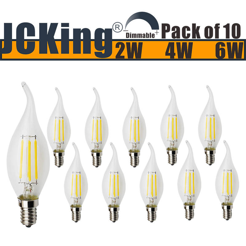 JCKing (Pack of 10) AC 220V 2W/4W/6W E14 Dimmable LED Filament Bulbs Candle tip LED Light Bulb, LED Vintage Antique Chandelier