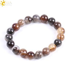 Image 2 - CSJA Natural Round Gem Stone Agates Onyx Men Bracelets Bangle 10mm Brown Stripe Ethnic Rosary Energy Beads Prayer Wristband F113