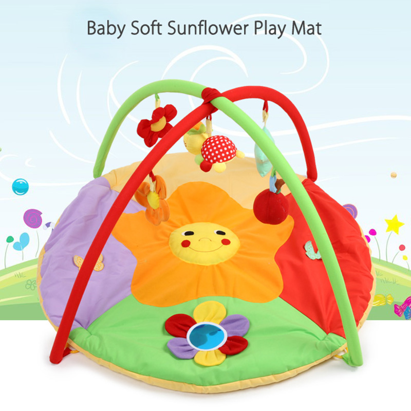 0-12 Months Baby Play Mat Colorful Patterns Cloth Durable Soft Sunflower Gym Blanket With Frame Baby Girls Boys Crawling Mat new mini 4in1 patterns sunflower whirlwind r