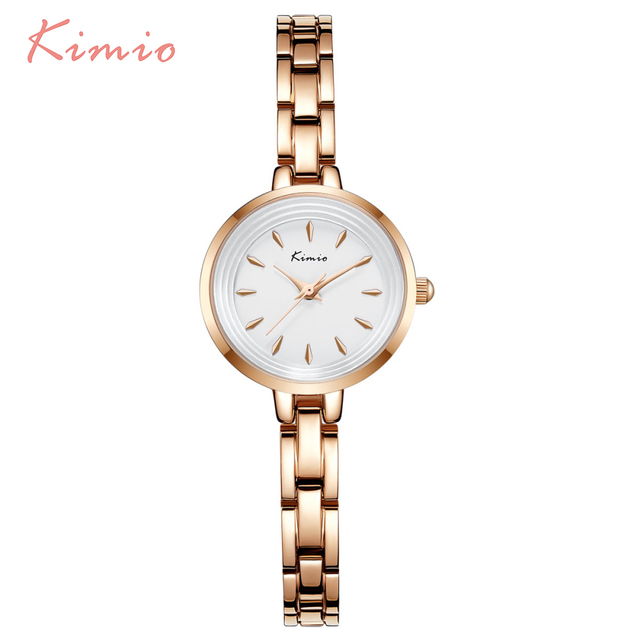 KIMIO Casual Stereoscopic Dial Alloy Ladies Watches Top Brand Luxury Rose Gold B