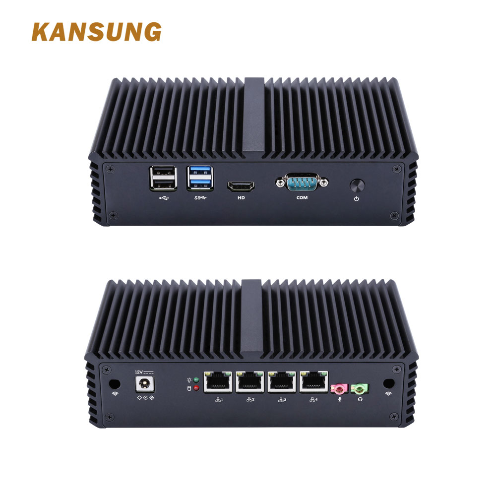 KANSUNG Intel 4 Lan Mini Fanless Pc Firewall Celeron 3205U Processor Thin Client X86 Computer Support AES-NI AS Router Box