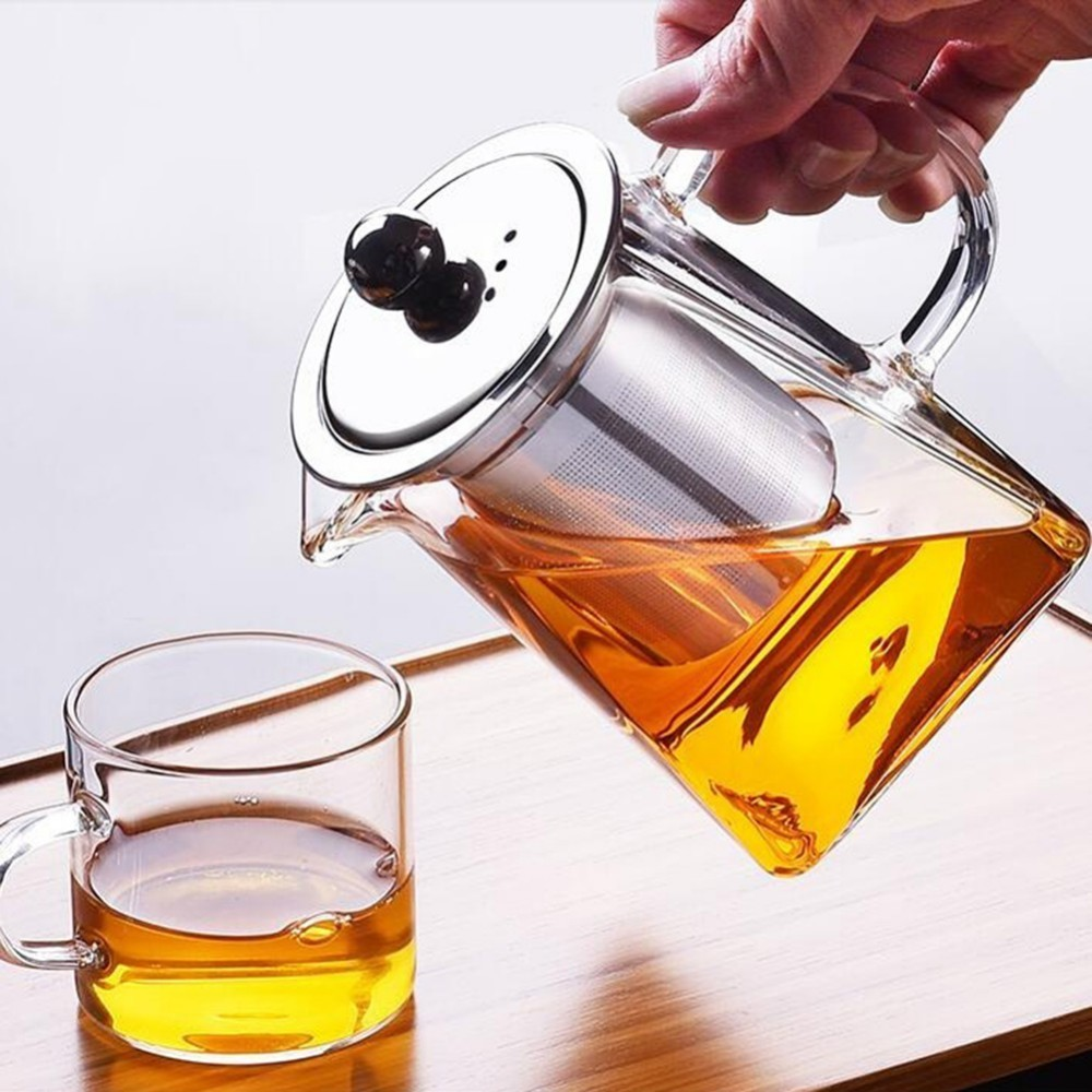 350/550/750ml Clear Glass Sqaure Teapot High Temperature Resistant Loose Leaf Flower Tea Coffee Pot W/Infuser Strainer And Lid|Teapots|   -