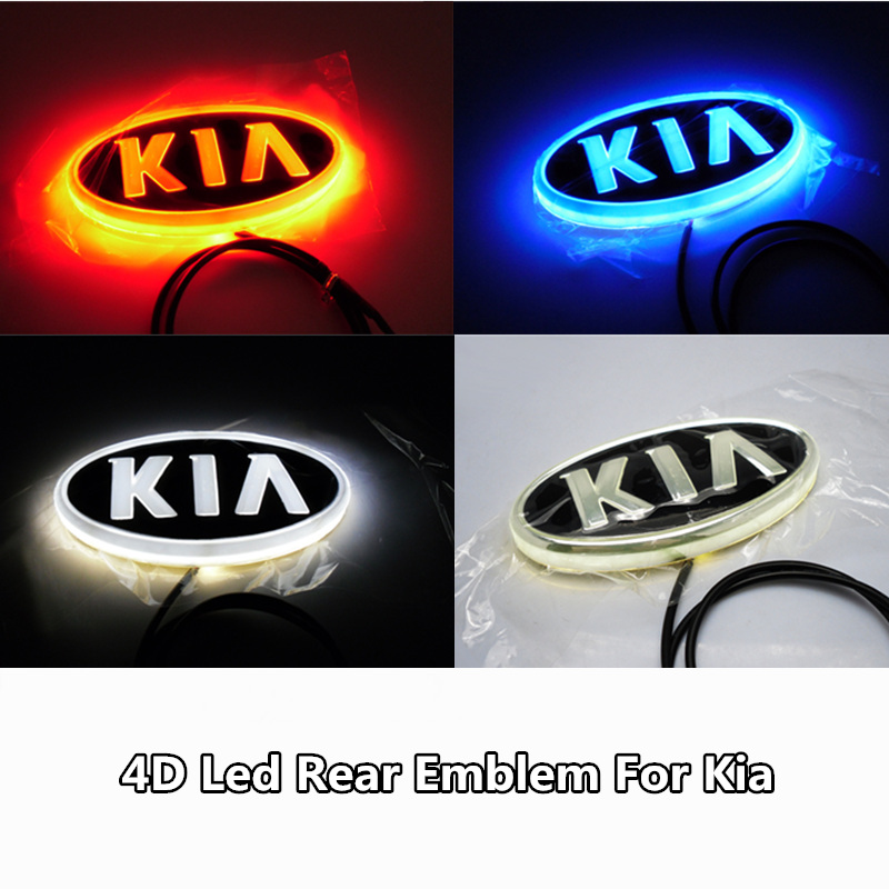 1pcs 4D Led Rear Emblem Car Logo Light for Kia K5 Sorento Soul Forte Cerato Car Led Badge Bulb Car Styling car styling 5d led rear emblem logo light car badge bulb for audi q3 q5 a1 a3 tt