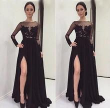 Auf verkauf satin mit langen ärmeln a-line abend dress 2017 neue black appliques brautkleider sweep zug party dress mm2597