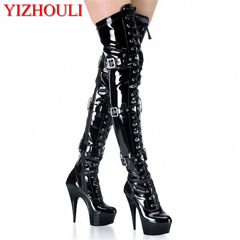 15CM High-Heeled Shoes Platform Front Buckle Strap Over The Knee Boots Round Toe Boots Ladies' 6 Inch Sexy Thigh High Boots 2016 new arrival 15cm ladies motorcycle autumn and winter boots round toe 6 inch high heel boots sexy flock buckle boots
