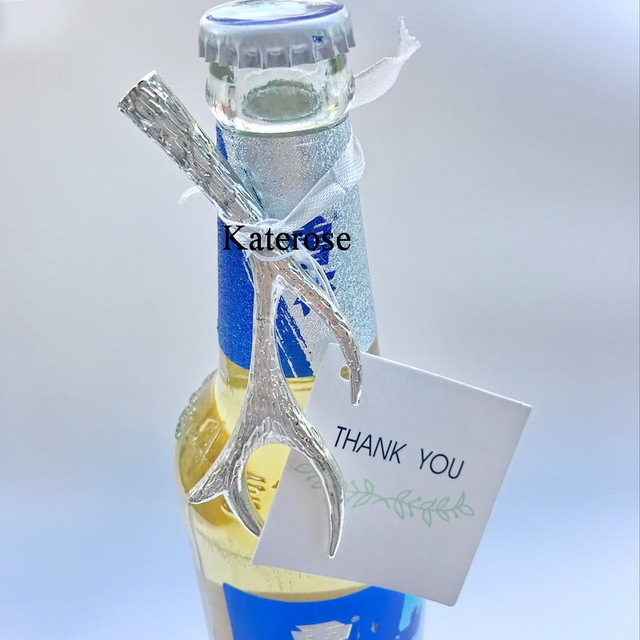 US $85 0  2018 New 50pcs/lot Party Favors Silver Antler Bottle Opener Favor  Wedding Favors Free Shipping-in Party Favors from Home & Garden on