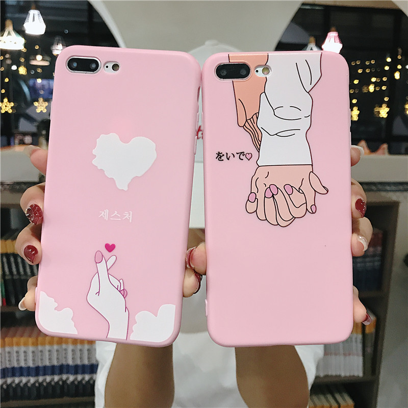 Aokin Case for iPhone 6 6s Phone Cases Girls Pink Love Back Cover For iPhone 7 8 x Silicone Case for iphone x coque for iphone 6 iPhone