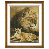 Leopard And Lion Counted Kit Stamped Cross Stitch Kit