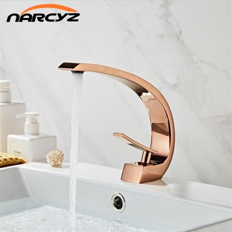 Robinets de lavabo moderne salle de bains mitigeur robinet or Rose lavabo robinet mitigeur monotrou chaud et froid cascade FaucetXT-419