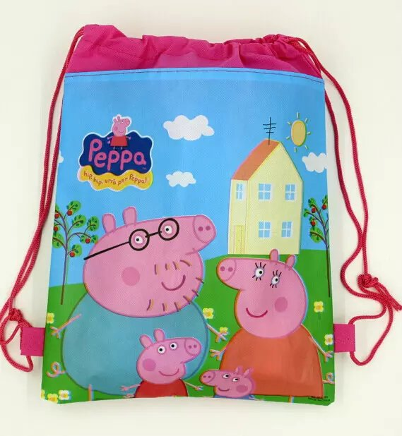 1pc Pink Pig Non Woven Fabric Loot Bag Gift Drawstring Backpack Kid Boy Birthday Theme Party Supplies Decoration In Bags Wring From