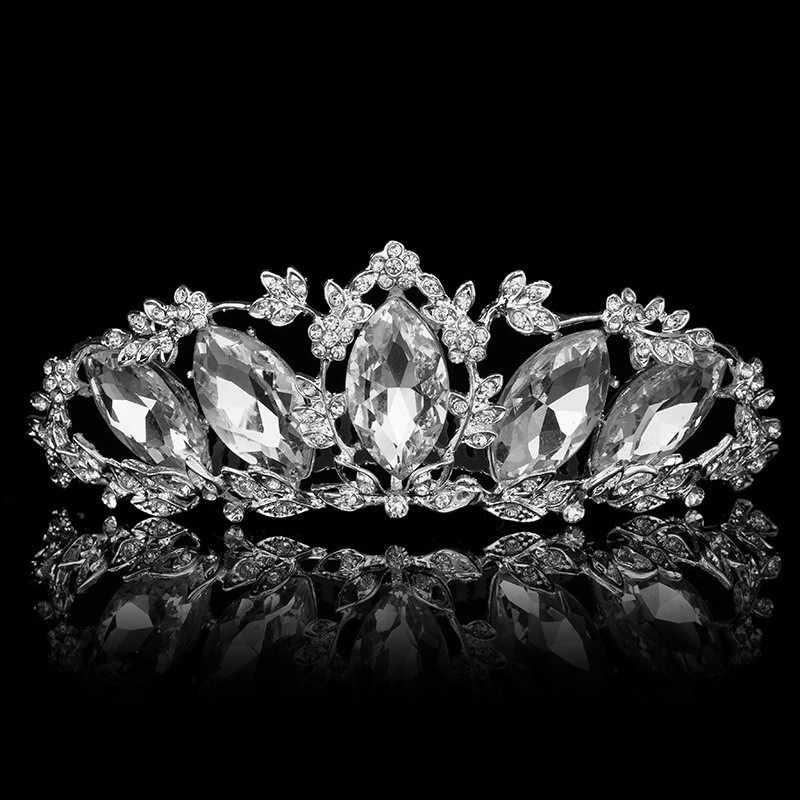 Luxe Kristal Bloem Bruids Sieraden Sets Bruid Choker Ketting Oorbellen Tiara Kroon Bruiloft Sieraden Sets Accessoires Voor Vrouwen