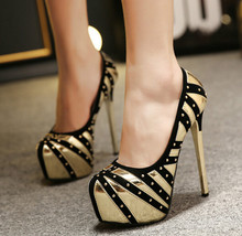Super high heels fine with 14cm New fall shoes nightclub waterproof shoes high heels sexy personality rivet