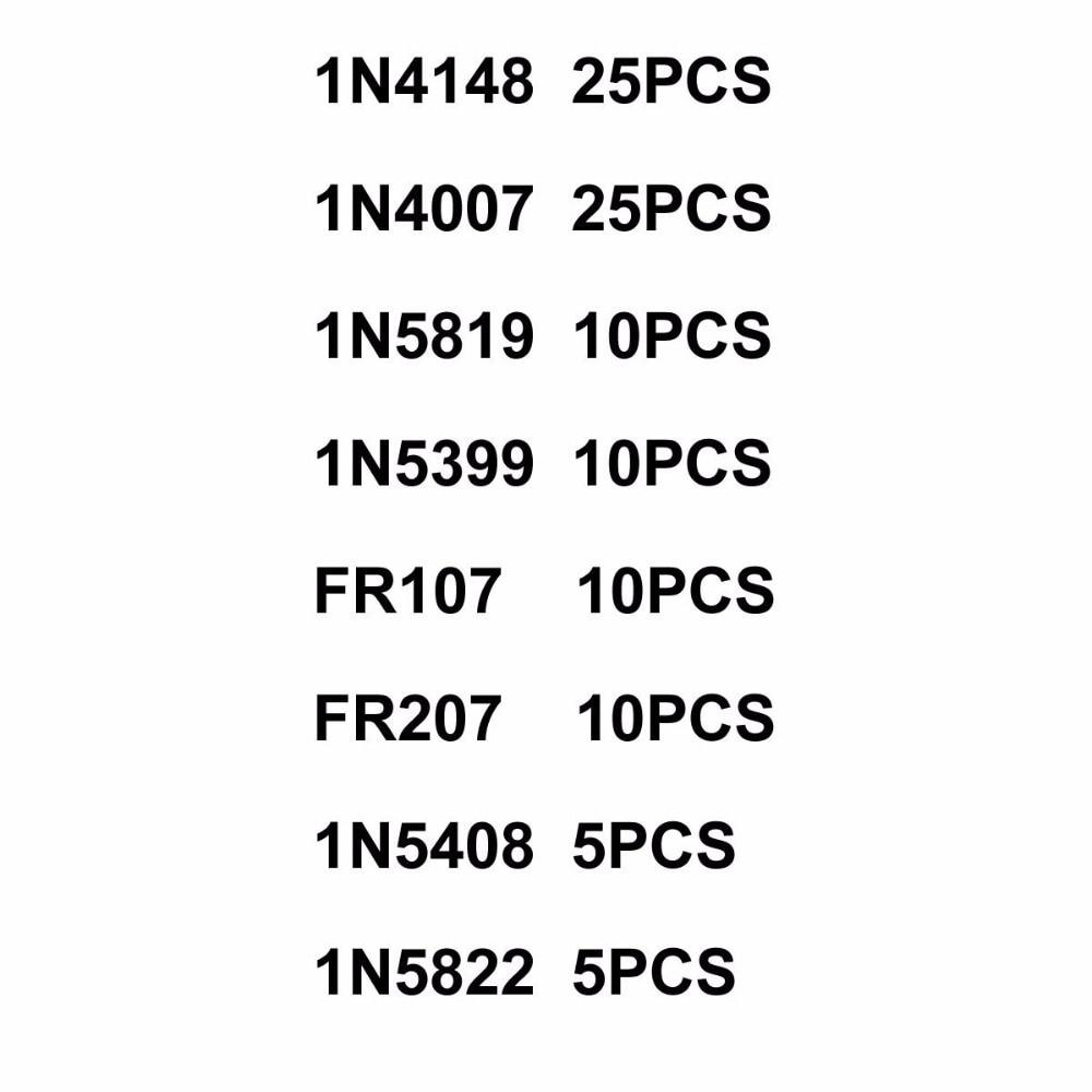 MCIGICM 1N4148 1N4007 1N5819 1N5399 1N5408 1N5822 FR107 FR207 Diode,Electronic Components Package,Diode Assorted Kit