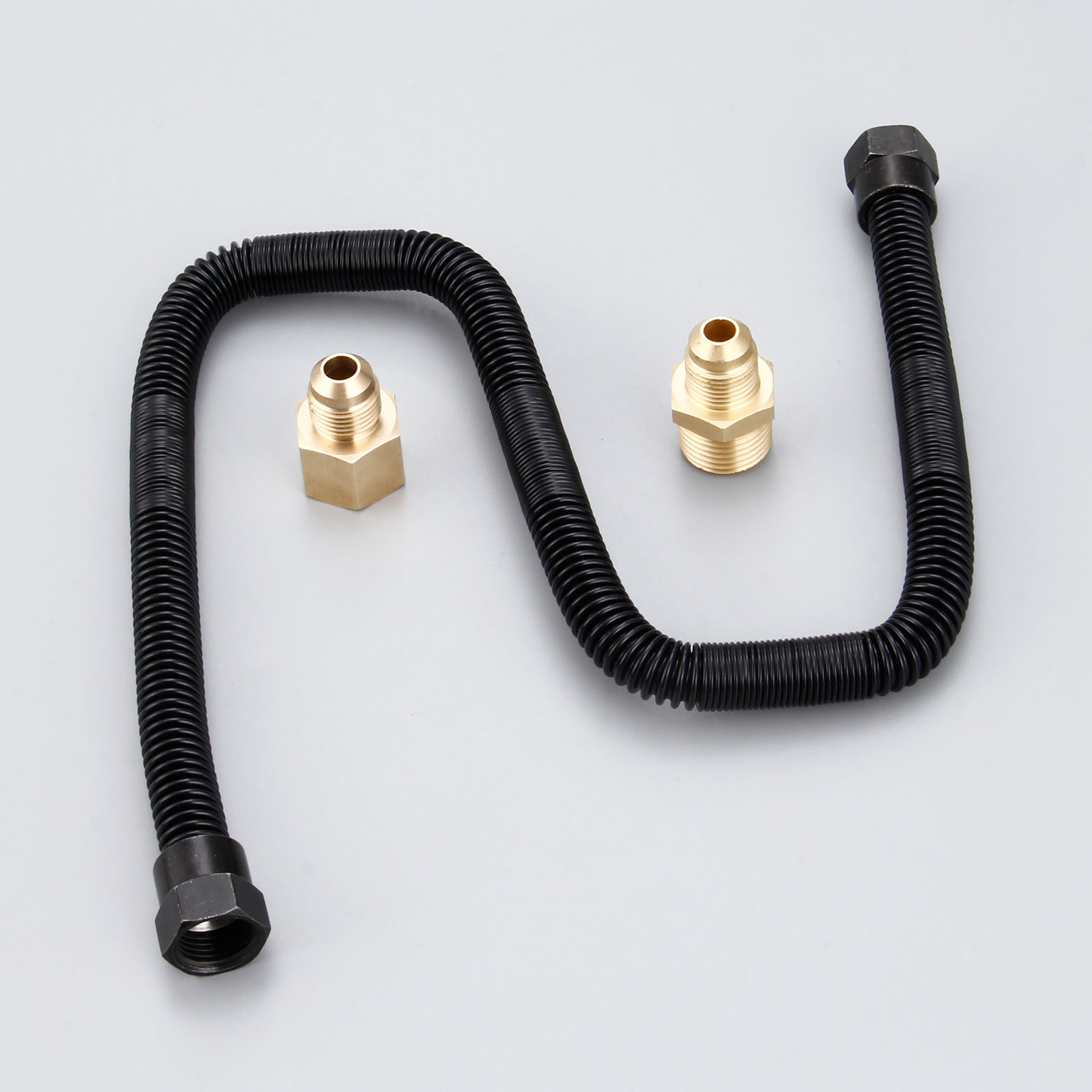 1//2 NPT Male x 1//2 NPT Female MENSI Whistle Free Gas Flex Line for Fire Pit and Fireplace Stainless Steel 24 Long