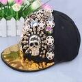 Alta Qualidade Handmade Ajustável Cap Snapback Mulheres Dos Homens de Spike Studs Botões Crânio Bonés De Beisebol Rebite Estilo Punk Rock Hiphop Cap