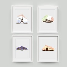 Watercolor City Landmark Building Art Prints Wall Pictures , Italy London Spain Paris City Skyline Canvas Painting Poster(China)