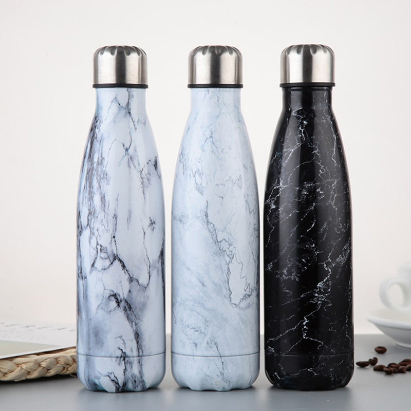 New Marble texture 350ml 500ml Thermal Insulation Stainless Steel Water Bottle Cola Water Beer Portable For