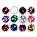 12 Colors/set Nail Art System Tips Nail Glitter Acrylic 3D Rhombus Glitter Shape Sequins Powder Set for Nail Decoration