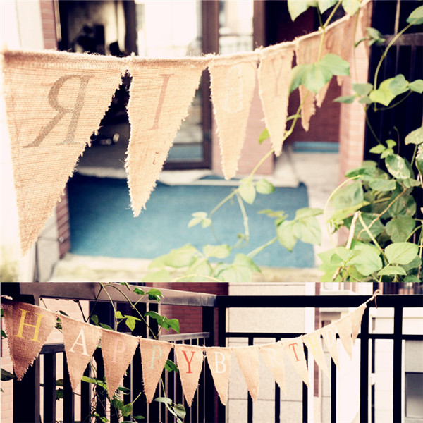 5pcs Lot Decoration Banner Happy Birthday Bunting Rustic Country Shower Christening Party Jute Pennant Flags In Banners