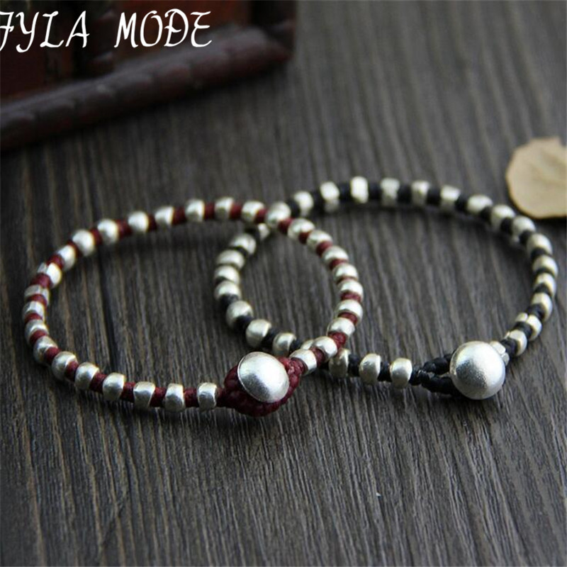 Fyla Mode Hand Made Jalinan Beaded Gelang Antik 925 Perak Hitam Merah Thailand Perak manik-manik Gelang tenunan 17cm Panjang WT002