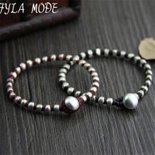 Fyla Mode Hand Made Braided Beaded Bracelets Antique 925 Silver Black Red Thai Woven Bracelet 17cm Long WT002
