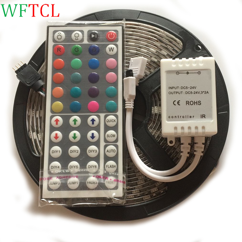 5M waterproof RGB Bande LED Flexible light SMD 5050 DC12V 60LED/m 300leds LED ribbon tape Light with IR44 Keys Remote Controller
