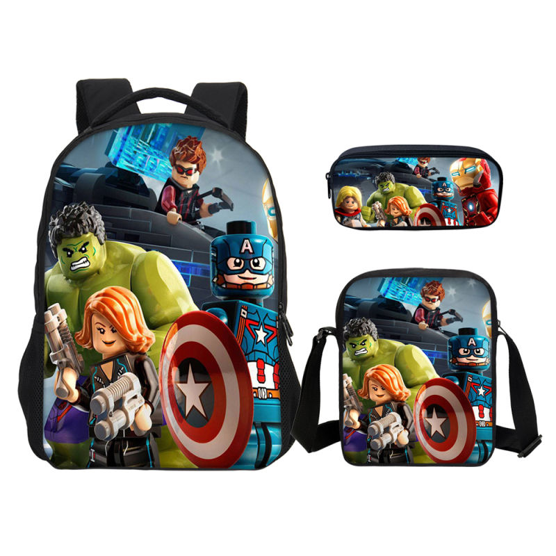 3pcs Set Super Hero Hulk School Bags for Children kids School Backpack for Girls Boys Children