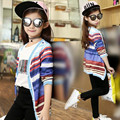 Girls Jacket 2017 Colorful Striped Long Sleeves Cardigan Girl Spring Autumn Clothes Baby Children Kids Coats And Jackets JW1419
