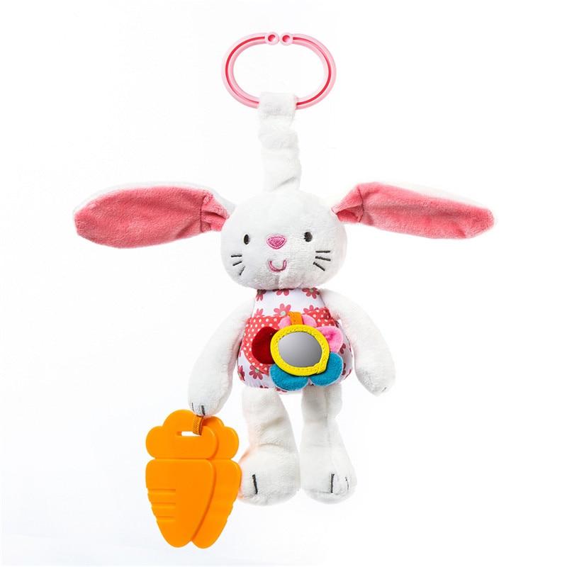 Baby Rattles 0M + Educational White Rabbit Leksaker Antibacterial Silica Gel Morot Molar Stick Babyvagnar Spjälsäng Toy Of Choice