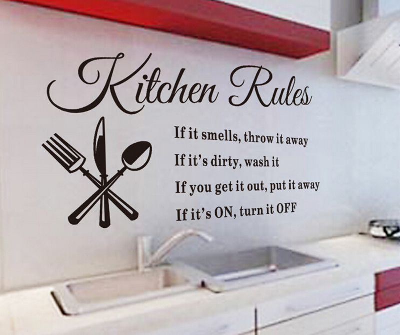New Creative Quote Words Kitchen Decor Black Removable Wall Sticker Dining Room DecalChina
