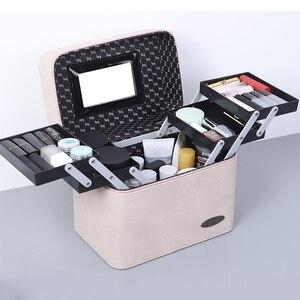 Image 5 - Bolsa de cosméticos de piel sintética de gran capacidad para mujer, estuche para bolsa de maquillaje, profesional, a la moda, organizador, caja de almacenamiento, Maleta