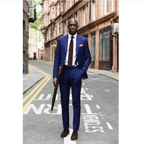 Royal Blue Men Tuxedo 2017 New Arrival Lastest Coat Pant Costume Mariage Homme Wedding Suits For Men (Jacket+Pants+Tie)