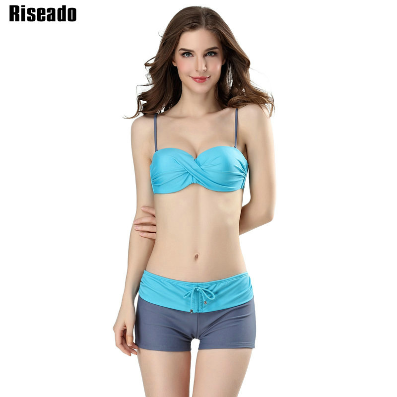Riseado 2017 Sexy Bikini Swimwear Women Push Up Swimsuit Strap Halter Straight Shorts Summer Beach Bathing Suits майка борцовка print bar fry