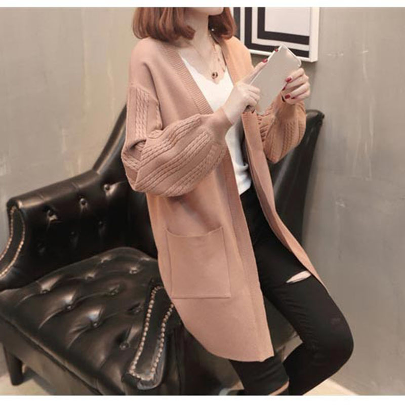 Knitting Cardigan Women 2018 new female Korean lantern sleeve long Loose kimono cardigan sweater knitt Sweater Coat Outwear ...