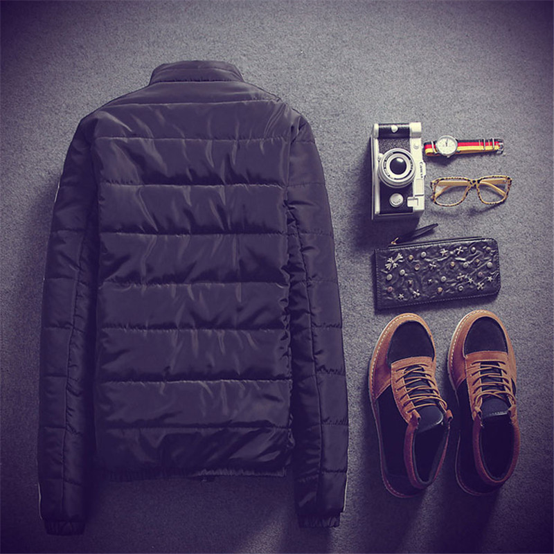 ФОТО 2015 Men's Fall And Winter New Slim Solid Color Ssolid Color Cotton Coat Jacket Warm Coat Slim Tide Male Youth