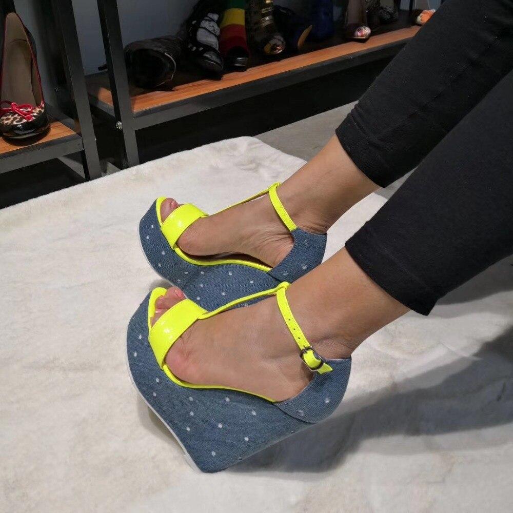 Femmes strap 5 Nous forme Taille Nouvelles Talons Jaune Sandales Yellow D1091 Grande Yifsion 15 Sexy T Chaussures Coins Hauts Ouvert Décontractées Plate À Bout RXT5xxwHn