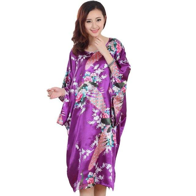2018 Spring Summer Artificial Silk Kimono Satin Robe Women Lounge Chinese Sexy  Bathrobe Peignoir Floral Robes Female Print Dress 16d50ba7a